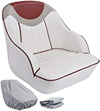 NORTHCAPTAIN P3 Pontoon Boat Seat Captain Bucket Seat with Boat Seat Cover,White/Grey/Red