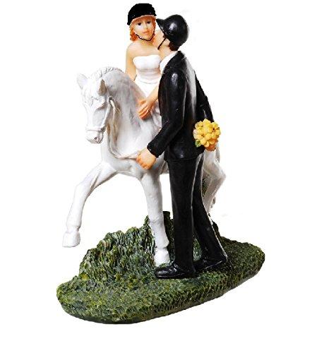 Tortenfigur Hochzeit 'Brautpaar mit Pferd' Reiter