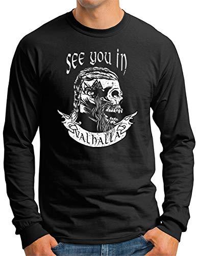 OM3® See You in Valhalla Skull Langarm Shirt | Herren | Runen Vikings Wikinger Nordic Warrior | Schwarz, XXL