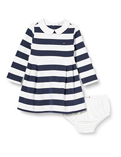 Tommy Hilfiger Mädchen Baby Rugby Stripe Dress L/s Kleid, Blue, 86