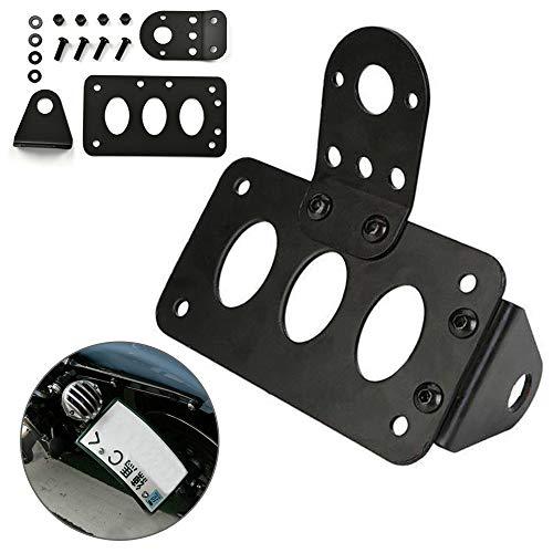 Motorcycle Number Plate Side Holder Bracket, Metal Side Mount License Number Plate Holder Tail Light Bracket Frame