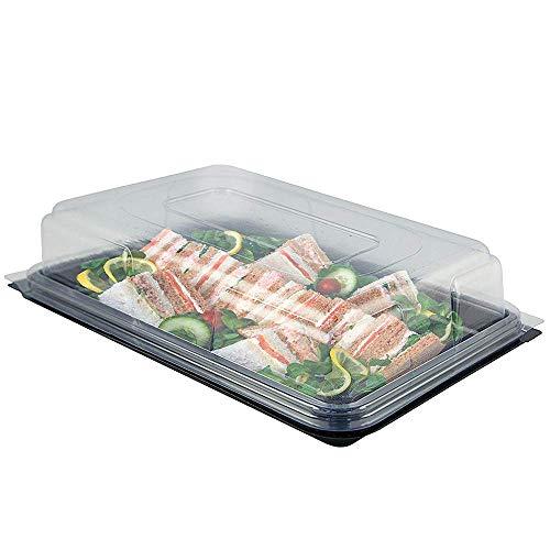 10 Speisen Servierplatte mit Deckel für Party Buffet Catering, Große 45cmx35cm| Rechteckige Plastik Sandwichplatte Tabletts| Stapelbar, Einweg & Wiederverwendbar| rutschfeste Unterlage.