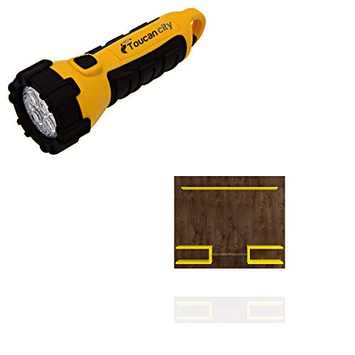 Toucan City LED Flashlight and Luxor Buffalo 64 in. Brown and Yellow Floating Entertainment Center Fits TVs Up to 50 in. with Cable Management 224HD5