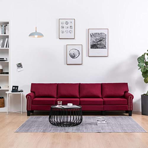 UnfadeMemory Sofá de Salon,Decoración de Hogar,Conciso y Moderno,Tapicería de Tela,Patas de Plástico (Vino Tinto, 4 plazas-254x70x75cm)