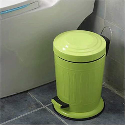 GAOLILI Poubelle en acier inoxydable, pédale, maison élégante, poubelles poubelle de salle de bains ( Couleur : Vert )