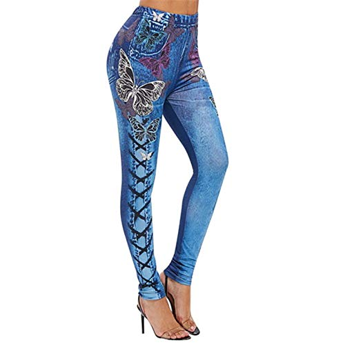 WYZTLNMA Womens Push Up Seamless High Waist Warm Stretch Jeans Leggings Women Autumn and Winter Jeggings Pants Trousers Blue