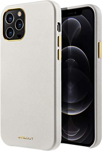 StilGut Cover kompatibel mit iPhone 12/12 Pro Hülle aus Leder - Lederhülle, Ledercase - Beige