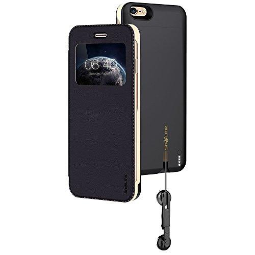 Snailink RAPPCase accuschaal voor Apple iPhone 6/6S met intrekbare hoofdtelefoon (MFI-gecertificeerd, 2650 mAh, lithium-polymeer-accu, gratis displaybescherming, geïntegreerde microfoon)