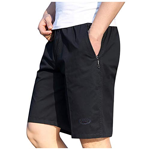 Mens Cargo Shorts Elastic Waist Relaxed Fit Zip Big Pockets Classic Casual Loose Stretch Short Navy
