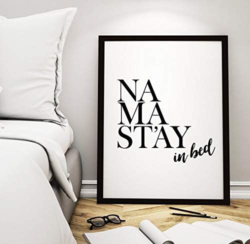 Wood Framed Sign 16x20'' Wooden Prints Printable Printable Art Bedroom Decor Namastay in bed Inspirational Quote Wall Art Namaste Typographic Art Home Decor Wood Signs for Home Decor Quotes