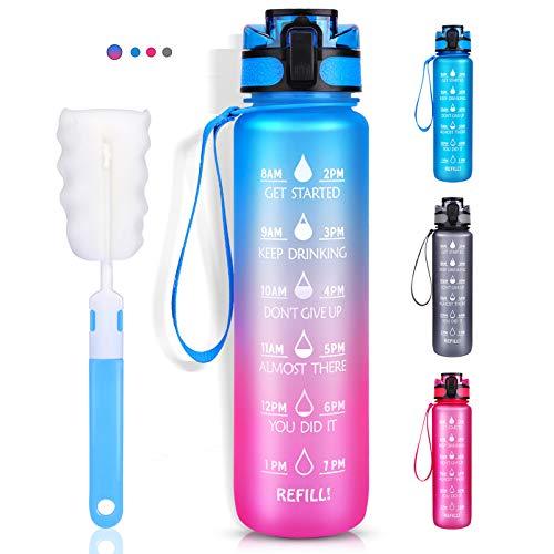 LEHOM Trinkflasche 1L, Wasserflasche Auslaufsicher, Sportflasche BPA-Frei, Tritan Fahrradflasche mit Zeitmarkierung Rosa Blau Farbverlauf für Camping Freien, Outdoor, Yoga, Gym, Schule, Fahrrad, Uni