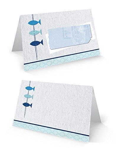 25 Stück kleine blau weiß türkis maritim 3 FISCHE Tischkarten Namens-Schilder Sitzkarten Platzkarten zur Taufe, Kommunion. Namensschilder Namenskärtchen - mit JEDEM Stift beschreibbar!