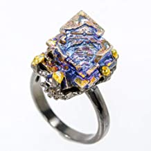 Handmade Jewelry Natural Bismuth 15x15 mm. 925 Sterling Silver Ring Size 7.75 us / AZR01890