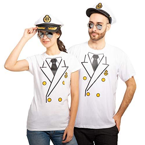 Kapitän Paarkostüm mit Shirts Kapitäns Mütze und Brille für Karneval & Fasching Mann Weiß...
