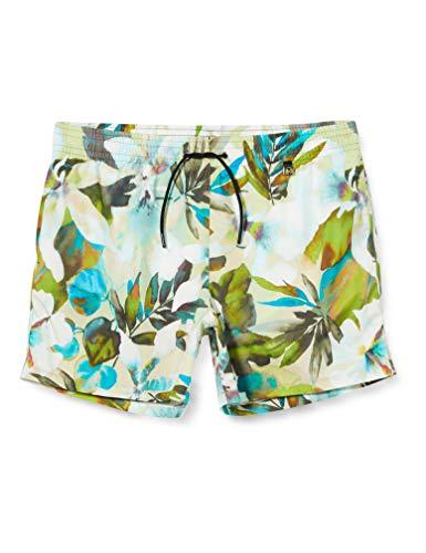HOM Herren Savannah Beach Boxer Badehose, Imprimé Floral Beige/Vert, S