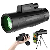 SKYSPER Telescopio Monocular 12 x 50 HD Impermeable con Trípode y Soporte para Teléfono Prismas BAK4 y FMC Visión Nocturna para Observación de Aves, Senderismo, Concierto, Viaje, Caza, Partido Fútbol
