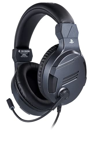 Bigben Cuffie Gaming V3 PS4 PS5 Ufficiale Sony PlayStation, Grigio Titanio