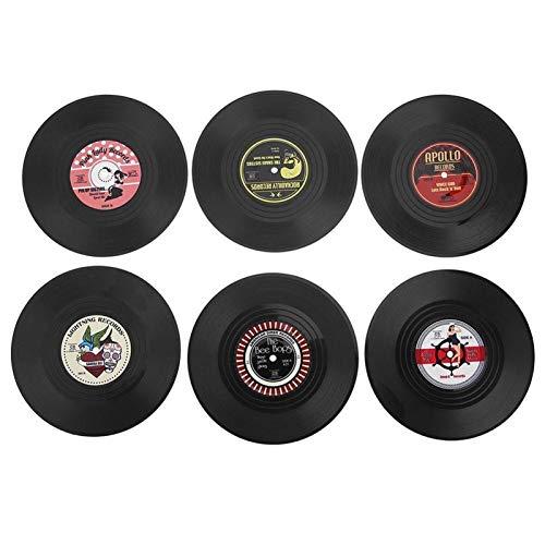 HFQJTU Vintage CD Vinyl Record Placemats para Mesa de Comedor, plásticos de Calidad alimentaria Placems, Mesa Antideslizante, colchonetas y Conjuntos de montaña para el Restaurante Home Restaurant