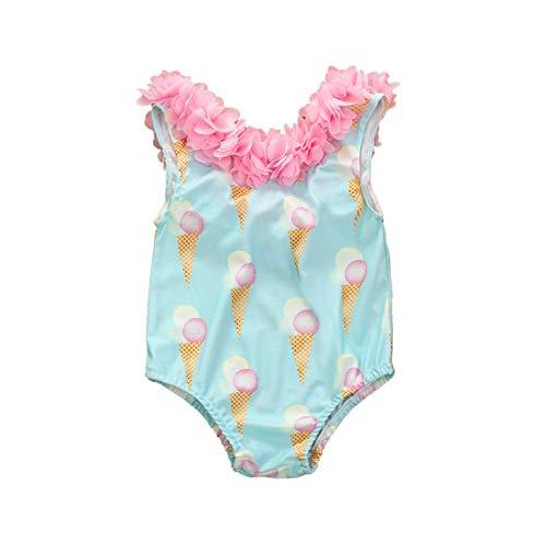 Traje de baño entero para niña recién nacida de verano con hombros descubiertos en volantes bikini niña Swimsuit Baby Girl de playa playa (1-5 años) turquesa 18-24 Meses
