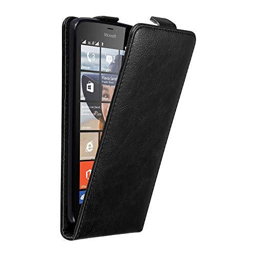 Cadorabo Custodia per Nokia Lumia 640 in NERO DI NOTTE - Protezione in Stile Flip con Chiusura Magnetica - Case Cover Wallet Book Etui