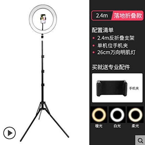 Ring Fill Licht Meitu Fashion Beauty Shooting Live-Telefon-Verkauf Video Selfie 26cm Fill Light Ring + Pull Höhe 240cm +1 Handy-Position DDLS (Color : -)