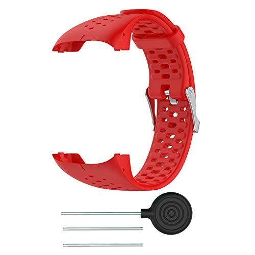 Silikon Armband kompatibel für Polar M400 M430, Silikonarmband Uhrenarmband Sport Ersatz Armband Sportarmband Ersatzband kompatibel für Polar M400 M430 20mm (Rot)