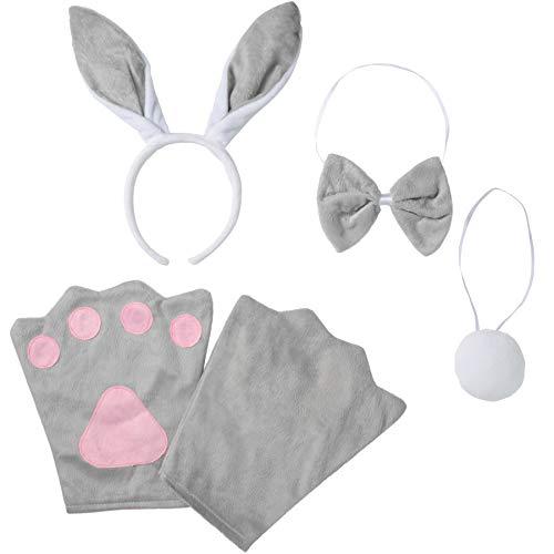 dressforfun 302034 - Kostüm Set Hase für Kinder, Haarreif mit Ohren, Handschuhe, Fliege und Schwanz