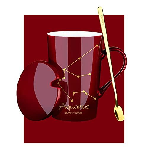 RZHIXR Taza De Cerámica con Tapa Y Cuchara Taza De Leche, Taza De Café con Patrón De Constelación, Taza De Té De Oficina 400-500ml