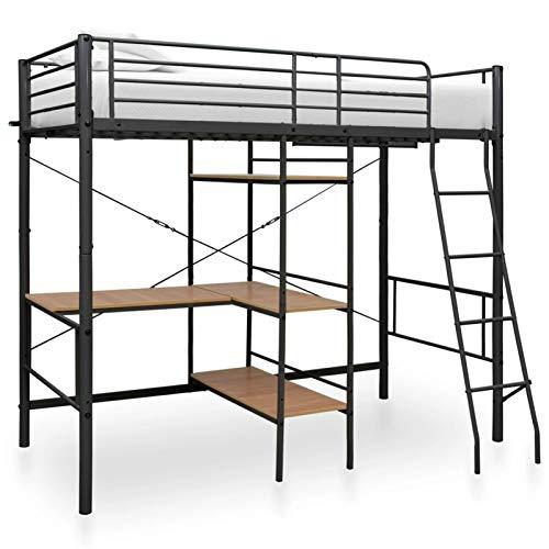 Tidyard Estructura de litera con Mesa de Metal Negro 90x200 cm