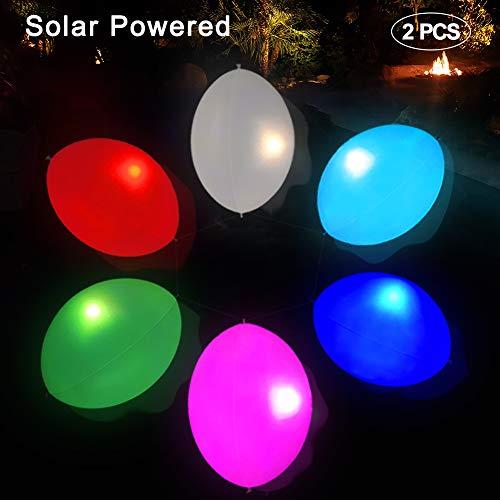 Oval Solarleuchte Garten,Solarlampen für außen Schwimmende Pool Lichter Ei aufblasbar IP68 Wasserdichtes RGB Licht Farbwechsel im Freien Solarlampe Solar-Laterne für Schwimmbad/Garten/Weihnachten 2st