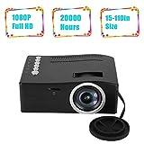 Mini Projecteur LCD TFT, Vidéoprojecteur Portable Full HD 1080p avec 20,000 Heures LED, Max.110'' Display, Multimedia Cinema de...