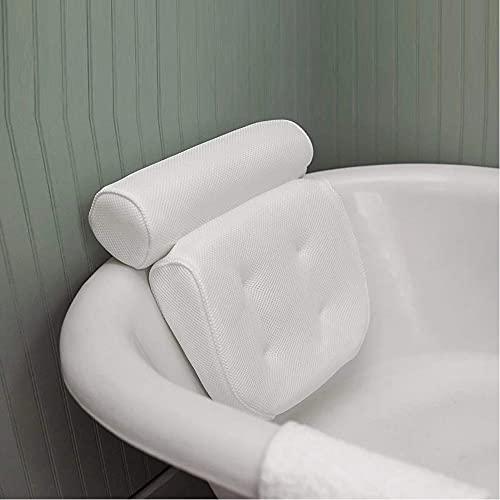 Almohada cervical para bañera con tecnología AirMesh y 7 ventosas. Función de apoyo para cabeza, espalda, hombros, cuello (blanco, malla de aire 4D)