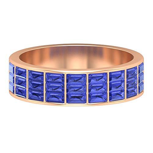 Half Eternity Ring, Wide Wedding Band, 1.6 CT Baguette Cut Tanzanite Ring, December Birthstone Ring, Thick Anniversary Ring, Gemstone Bridal Ring, 14K Rose Gold, Size:UK Z+2