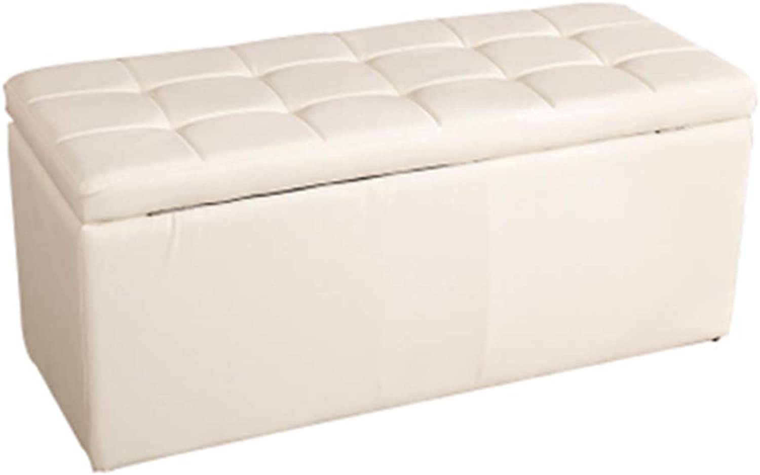 JIANFEI Footstool Sofa Stool Garden Bench Storage PU Cushion, 9 colors 7 Size (color   White, Size   30x30x36cm)