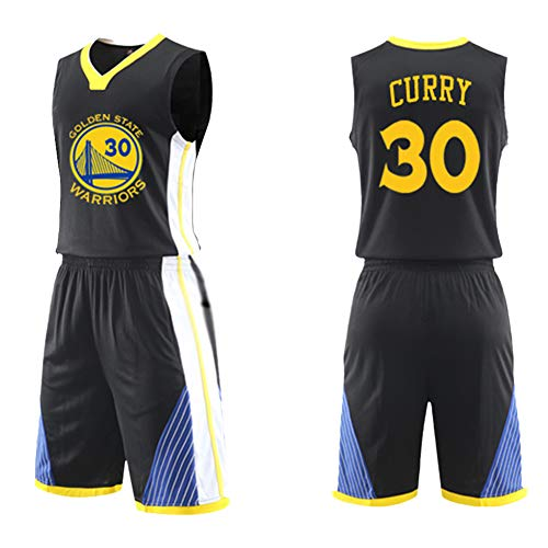 Dybory Erwachsene Basketball-Uniform Sportbekleidung NBA Golden State Warriors #30 Stephen Curry Basketball-Trikot-Set, 2-teilig, schnell trocknende Netz-Weste + Shorts, schwarz, L