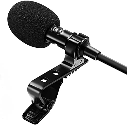 AMzon Microfono Lavalier, Microfono a Condensatore Omnidirezionale con Clip e 2m Cavo di Prolunga, Microfono Professionale per iPhone iPad Android Mac Windows Fotocamera Tavoletta