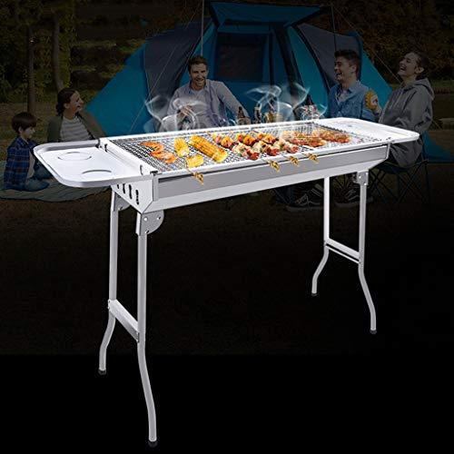 417AsecUMFL - Barbecue Holzkohlegrill Edelstahlgrill Heimgrill Grillzubehör Für Den Außenbereich Geeignet Für 5-8 Personen (Color : Silver, Size : 73 * 32.5 * 70cm)