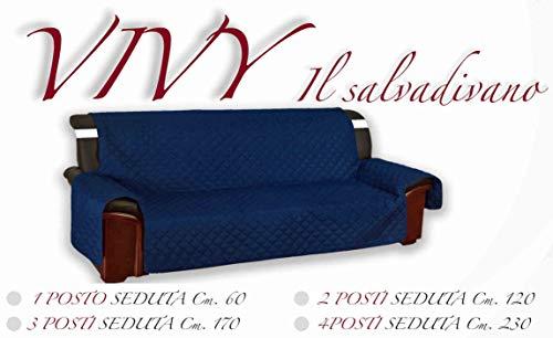 Tex family - Vivy - Housse de protection matelassée pour canapé 2 places avec assise de 120 cm de long, bleu