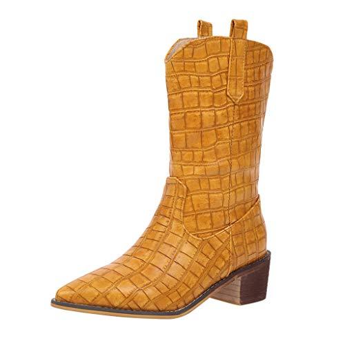 Frauen Stiefel Square Heels Wies Slip-On Casual Bestickte Rodeo Cowboy Stiefel Krokoprägung Martin Stiefel(39 EU,Gelb)