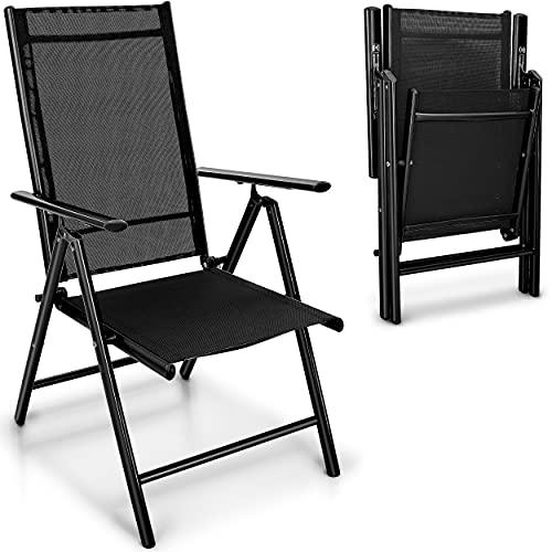 tillvex Gartenstuhl 2er Set klappbar aus Aluminium | Hochlehner mit Armlehnen | Klappstuhl verstellbar | Klappsessel Balkon Garten Terrasse (Schwarz)