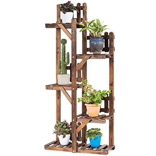 Giantex 5-Tier Flower Rack Wood Plant Stand, Plant Display Shelf, Indoor Outdoor Storage Stand for Potted Plant, Bonsai and Books, Multifunctional Shelves with Hollow-Out Rack