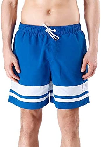 QRANSS Mens Swim Trunks Quick Dry Athletic Beach Shorts Swimming Boardshorts with Mesh Lining Blue