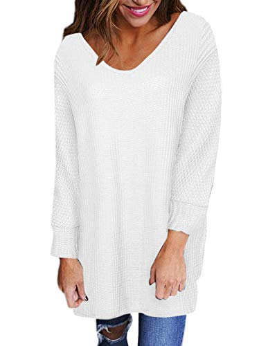 Style Dome Pullover Damen Loose V-Ausschnitt Longpullover Stricken Bluse Solid Casual Tunika Weiß-739612 5XL