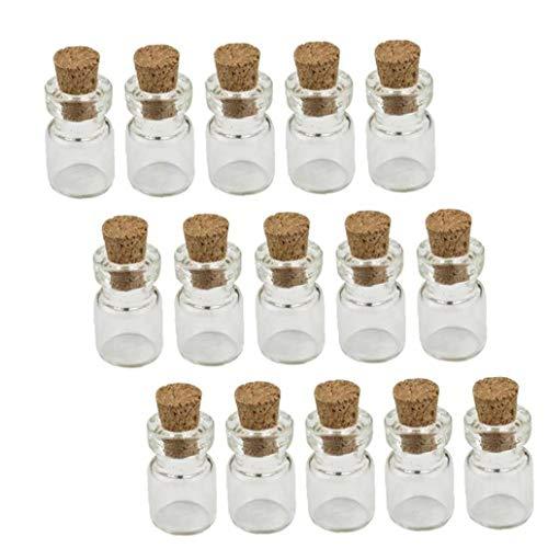 Hotaden 50pcs de Corcho de Botellas de Vidrio, Botellas del Deseo Pequeñas Botellas tarros de Cristal del Favor de los Viales Cork
