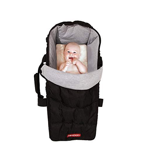 Nikidom - Cuco Blando - Capazo para Bebé - Color Negro - Medidas 27 x 59 x 20 cm - Cómodo y Ligero - Plegable - Compatible con la mayoría de Sillas de Paseo - Lavable a Máquina