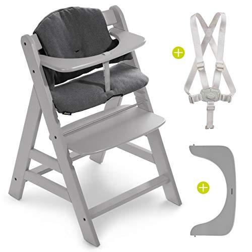 Hauck Hochstuhl Alpha Plus - Mitwachsender Kinderhochstuhl mit Gurt und Sitzkissen - Grau Jersey Charcoal