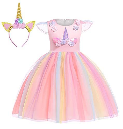 AmzBarley Unicorno Vestito Festa Ragazza Bambina Partito Abiti Principessa Abito Carnevale Compleanno Nozze Vestiti