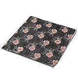 Página de inicio Toallas de mano toalla de fibra superfina, rosas rosas rosas rosas en carbón pequeñas toallas de cocina toallas de bebé toallas cuadradas suaves absorbentes 2 piezas Set 12.9 pulgadas