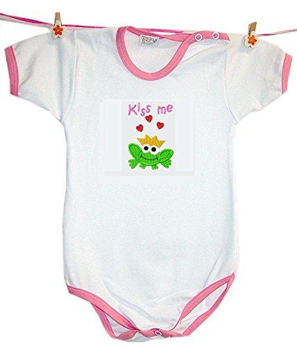Zigozago - Body Bèbè à Manches Courtes pour bébé avec Broderie Kiss ME Taille: 18-24 Mois - Couleur: Rose - 100% Coton