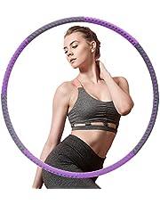 AUCARY hoelahoep, afneembare 8-delige fitnessmassage gewichtsverlies hoelahoep, hoepel met gewichten geschikt voor volwassenen, kinderen, beginners (grijs paars)